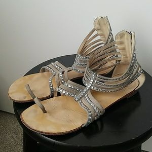 Giuseppe Zanotti grey suede crystal studs sandals
